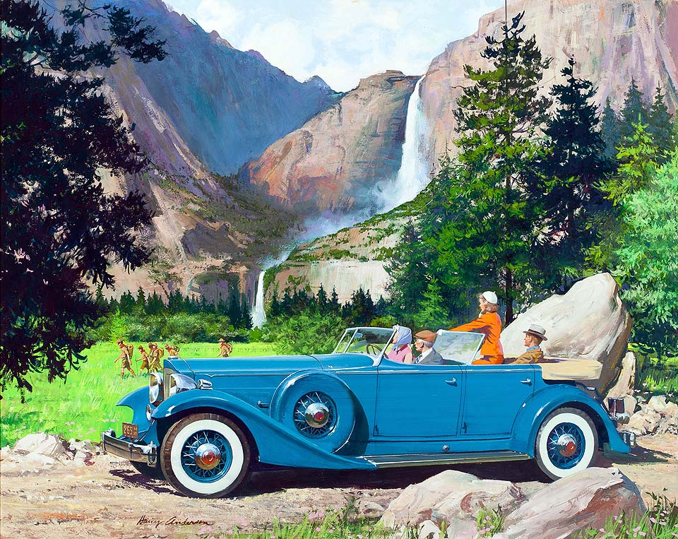 1933 Packard Sport Phaeton:  Down from the granite heights (Yosemite Falls)