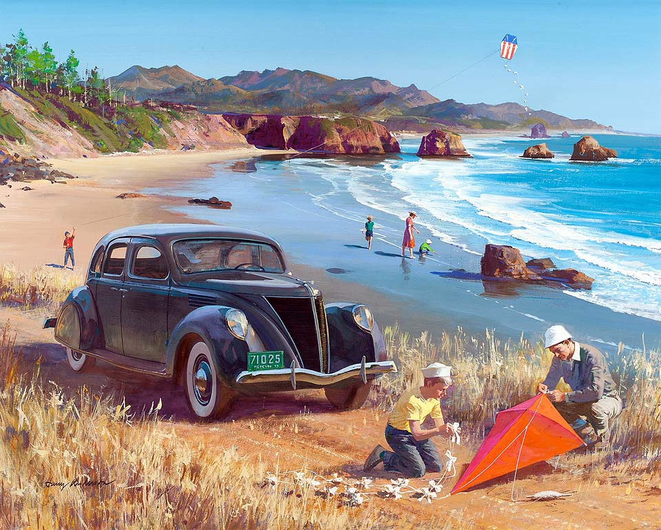 1936 Lincoln-Zephyr Sedan: Flying Kites on the Beach